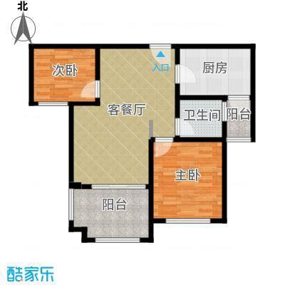 碧桂园滨湖城70.10㎡户型2室2厅1卫