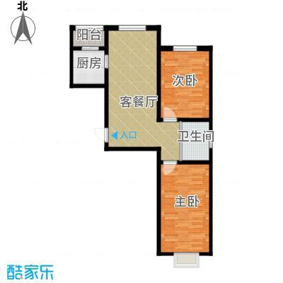 嘉和丽景80.00㎡H户型2室1厅1卫1厨