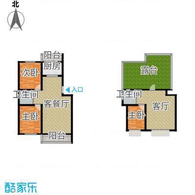 华航怡景康城76.00㎡六层带阁楼户型2室2厅1卫