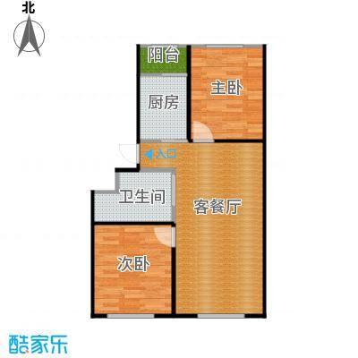 东皇君园82.51㎡E户型2室2厅1卫