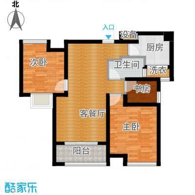 中铁滨湖名邸87.98㎡A2户型2室2厅1卫
