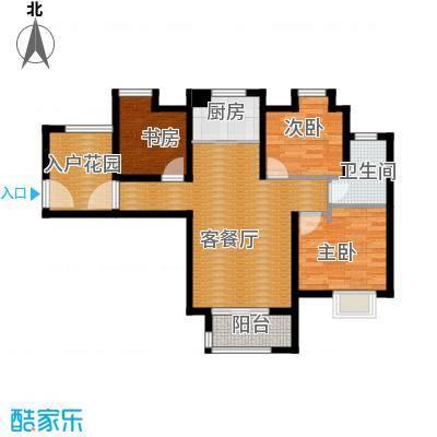 中铁滨湖名邸93.44㎡A3户型3室2厅1卫