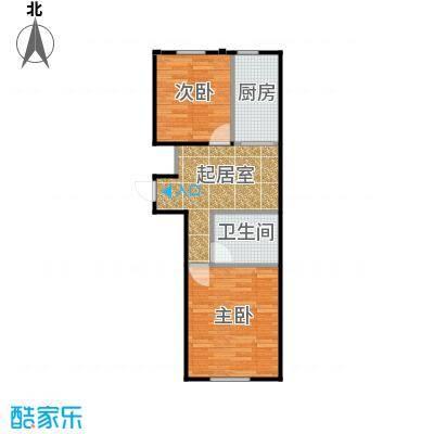 东皇君园77.00㎡F2户型2室1厅1卫