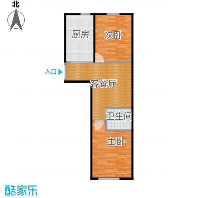 东皇君园77.00㎡F户型2室1厅1卫