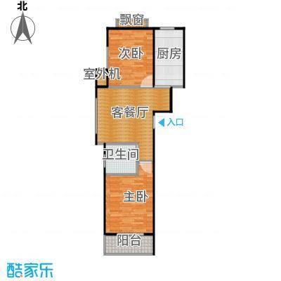 东皇君园77.00㎡F1户型2室1厅1卫