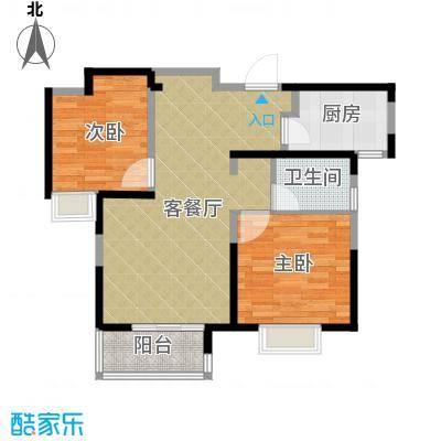 中铁滨湖名邸84.50㎡B2户型2室2厅1卫