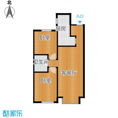 月伴林湾95.00㎡F户型2室2厅1卫