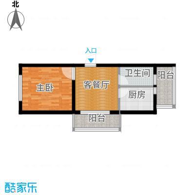 东皇先锋48.05㎡P户型1室1厅1卫1厨