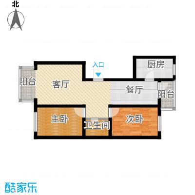东皇先锋74.64㎡J户型2室1厅1卫1厨