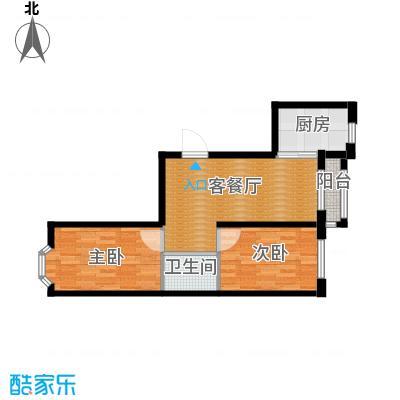 东皇先锋58.82㎡D户型2室1厅1卫1厨
