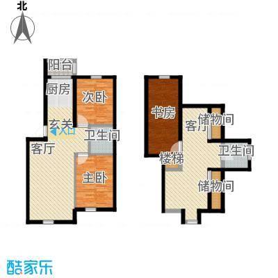 伟邦龙嘉小镇78.00㎡B4+温馨雅居户型3室3厅2卫