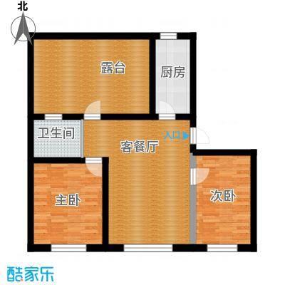 伟邦龙嘉小镇81.00㎡C1+温馨小居户型2室1厅1卫
