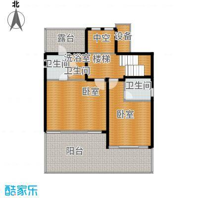 中信・香水湾100.14㎡B1别墅二层平面图户型2室1厅2卫