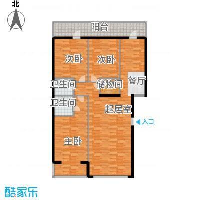 奥林小镇108.91㎡A3-5层单元平面图3室户型3室2厅2卫