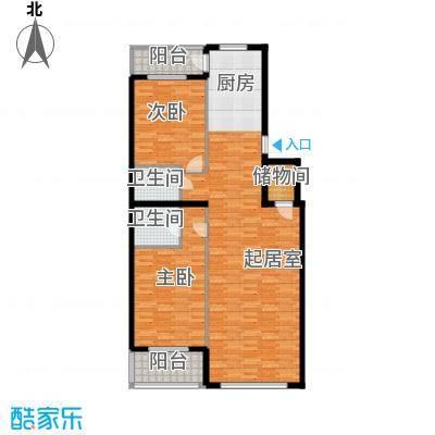 奥林小镇96.33㎡C3-5层单元平面图2室户型2室2厅2卫