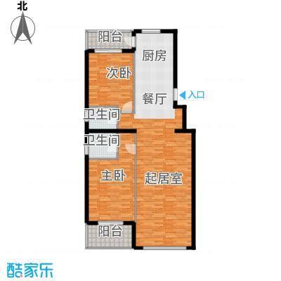 奥林小镇96.56㎡B3-5单元平面图2室户型2室2厅2卫