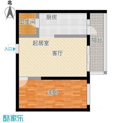 明珠公寓78.99㎡E户型1室1厅1卫户型1室1厅1卫