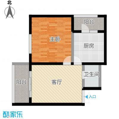 明珠公寓C1/2户型使用面积50.66一室一厅一卫户型1室1厅1卫