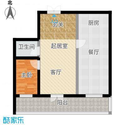 明珠公寓A户型使用面积53.66平米一室两厅一卫户型1室2厅1卫