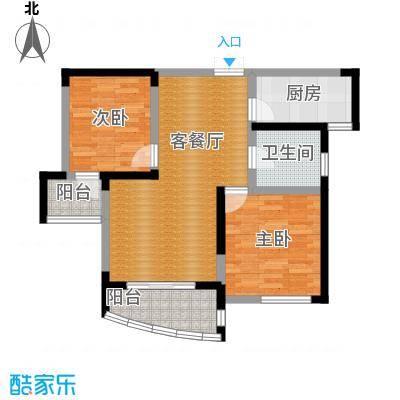 水墨兰庭72.43㎡35#金领公寓C1户型2室1厅1卫1厨