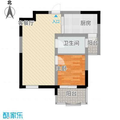 大华水韵华庭户型图C座4户型 1室2厅1卫1厨