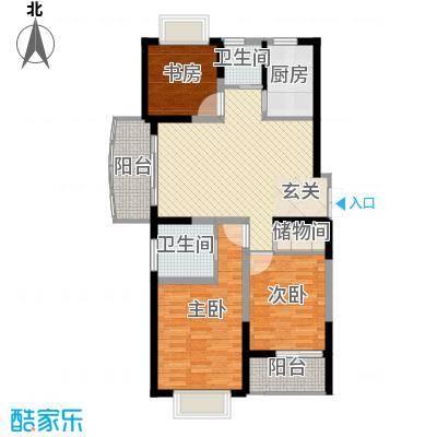 大华水韵华庭户型图C座1户型 3室2厅2卫1厨