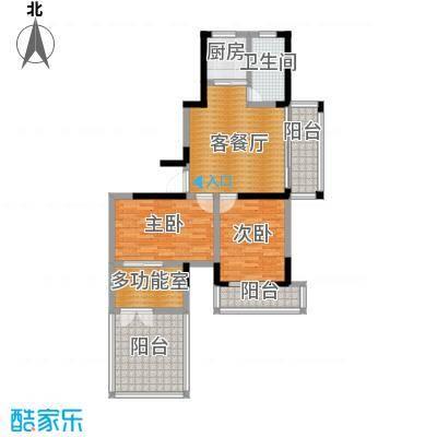 光盛豪庭95.00㎡一阳台+超大观景露台户型3室2厅1卫