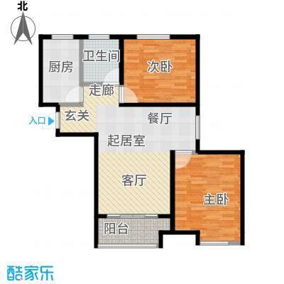 华菁水苑82.00㎡C户型2室1卫1厨