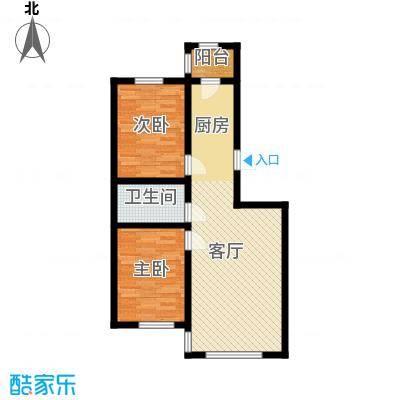 宇光万和城87.87㎡3号楼户型2室1厅1卫