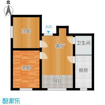 宇光万和城72.60㎡1号楼户型2室1厅1卫
