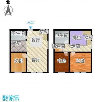 金昌国际92.93㎡DLOFT复式户型3室2厅2卫