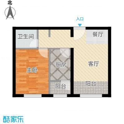 金昌国际60.37㎡F户型1室2厅1卫