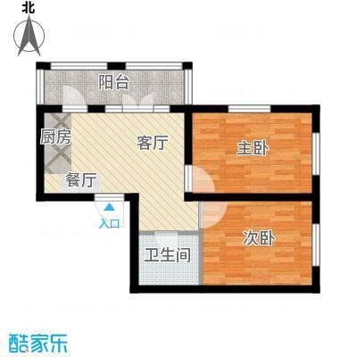 万吉华府69.65㎡2号楼1单元2号2室户型2室1厅1卫