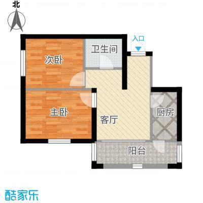 万吉华府74.41㎡2号楼2单元5号2室户型2室1厅1卫