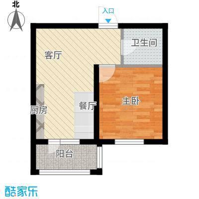 万吉华府54.51㎡1号楼1单元2号/1号楼3单元2号1室户型1室1厅1卫