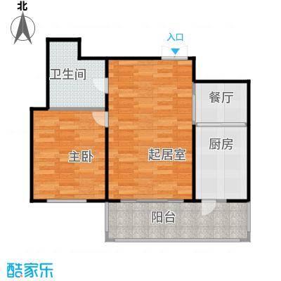 玉龙湾74.20㎡4栋2单元2号户型1室2厅1卫