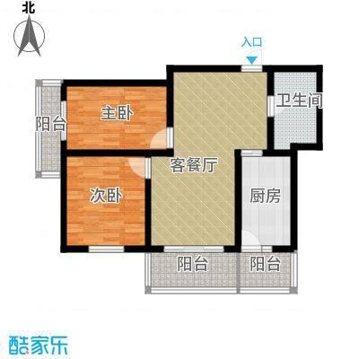 中山国际76.94㎡B户型2室1厅1卫1厨