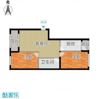 中山国际84.71㎡B户型2室1厅1卫1厨