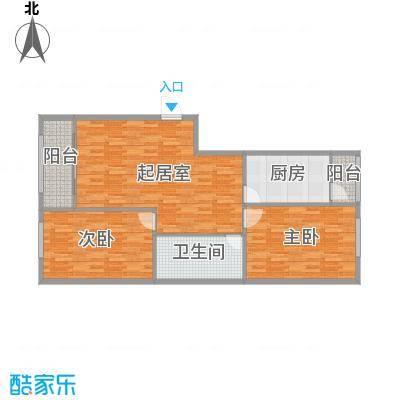 中山国际70.40㎡B户型2室1卫1厨