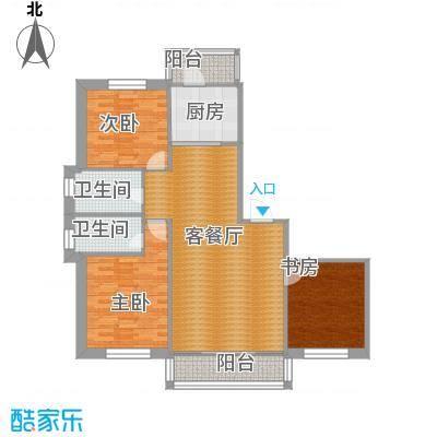 中北春城三期98.85㎡三居户型3室1厅2卫1厨