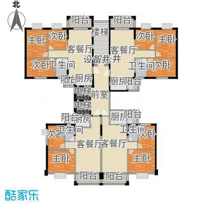 盈峰尚苑367.61㎡3座2梯标准平面图户型9室4厅4卫3厨