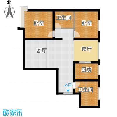 恒盛皇家花园85.99㎡H1户型3室1厅1卫