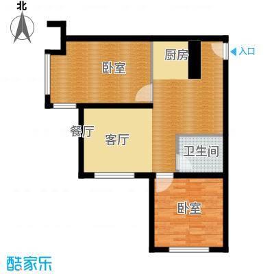 恒盛皇家花园63.80㎡E3户型2室1厅1卫