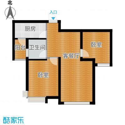 恒盛皇家花园59.23㎡B2户型2室1厅1卫