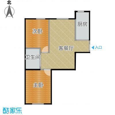 东皇君园82.00㎡H户型2室2厅1卫