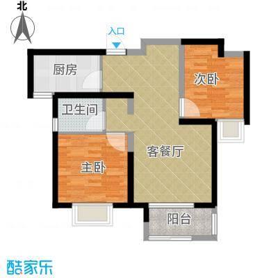 中铁滨湖名邸86.04㎡C2户型2室2厅1卫