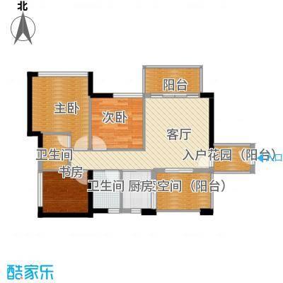 领地海纳公馆89.80㎡2栋3栋01单位户型3室1厅2卫1厨