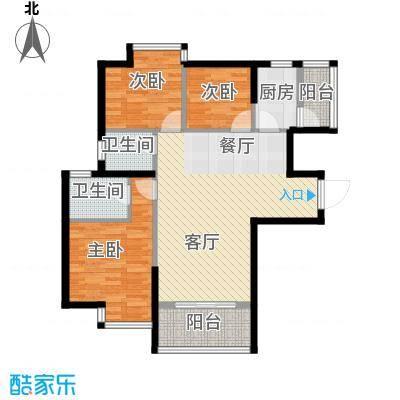 银汇华庭91.05㎡13座2-10层01单位户型3室2厅2卫