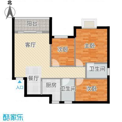 银汇华庭91.36㎡10/12座2-14层02单位户型3室2厅2卫