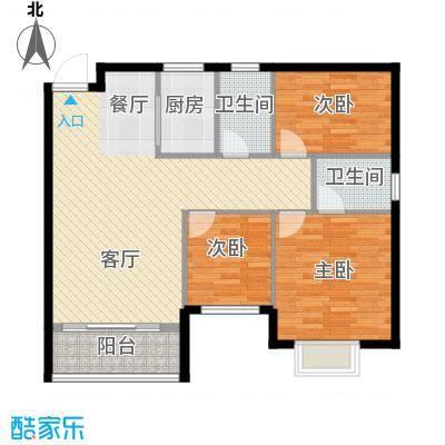 银汇华庭91.18㎡10/12座2-14层03单位户型3室2厅2卫